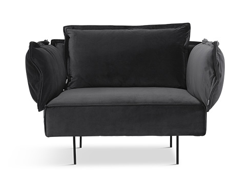 Modular 1-seater i velvet dark grey