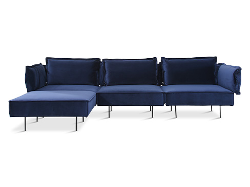 Modular Chaiselongsofa - Velvet Royal Blue