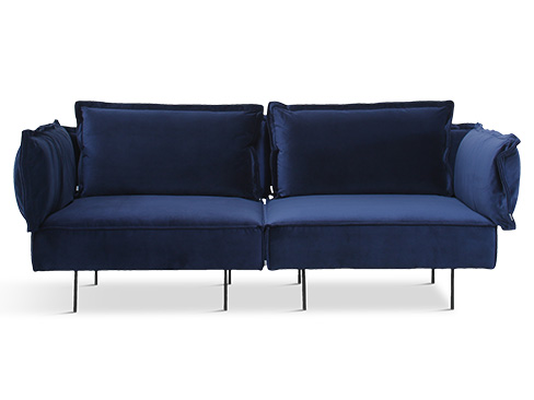 Modular 2 personers sofa - Velvet Royal Blue