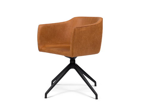 Since Chair med Swivel ben og Davos brandy læder